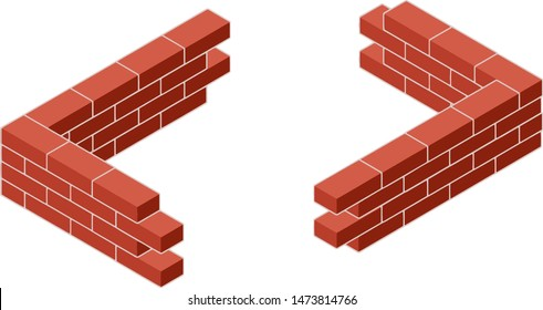 Red brick wall in isometric view. Construction of the building. Set of materials for repair from different sides. Cartoon illustration. The corner of low fence