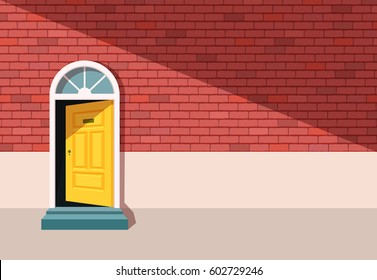 Red brick wall with open door