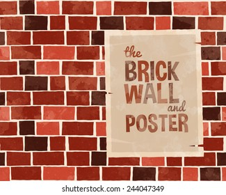 Red brick wall textured pattern background with older poster, cartoon style vector art illustration.