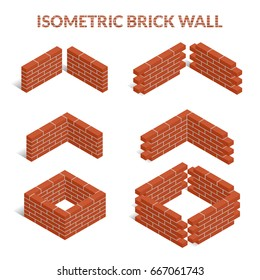 Red brick walls of the house, with cement mortar. Angular laying. Set of isometric icons. 3D. Vector illustration.