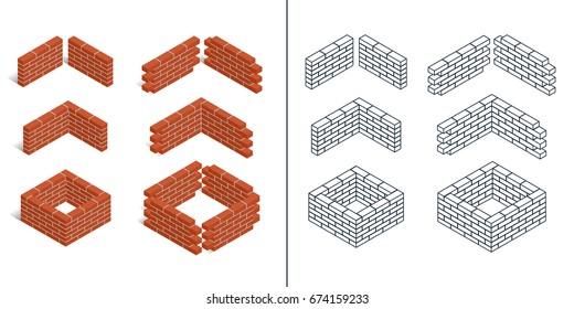 Red brick walls of the house, with cement mortar. Angular laying. Set of isometric icons, colorful and outlined. 3D. Vector illustration.