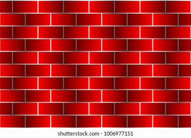 Red bricks - vector pattern, Brick wall - red background,