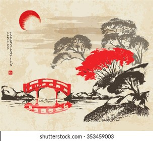"""The red bridge through the river and the autumn forest. Picture in traditional japanese sumi-e style on vintage watercolor background. Vector illustration. Hieroglyph """"harmony""""."""