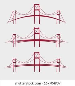 red bridges vector art