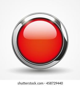 Red brilliant round web button, vector illustration