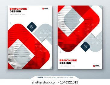 Red Brochure Design. A4 Cover Template for Brochure, Report, Catalog, Magazine. Layout with Bright Color Shapes and Abstract Photo on Background. Modern Brochure concept
