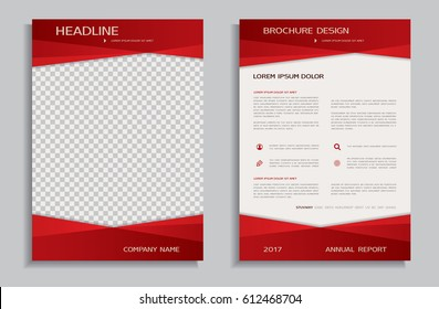 Red brochure design template, front and back page