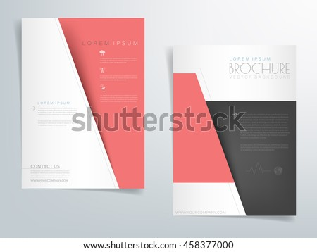 Red Brochure Template Flyer Background Header Stock Vector Royalty