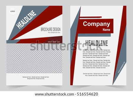 Red Brochure Template Flyer Design Abstract Stock Vector Royalty