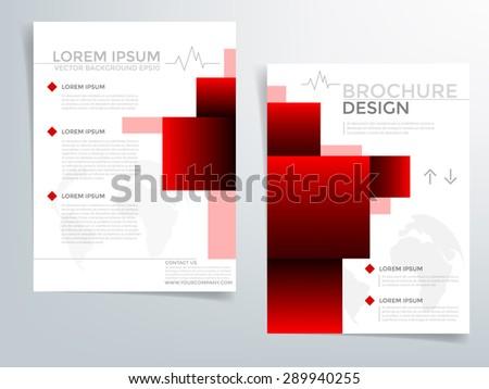 Red Brochure Template Vector Background Flyer Stock Vector Royalty