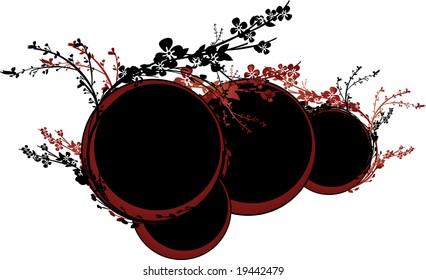 Red and brown circles surrounded by intricate flower ornaments