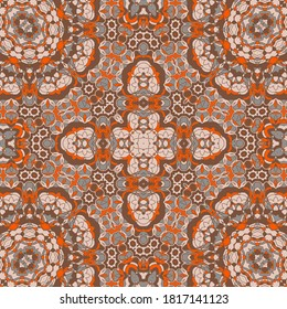 Red brown moroccan zellige tile seamless ornament. Ethnic structure vector swatch. Plaid print design. Stylish moroccan zellige tilework seamless pattern. Line art graphic background.