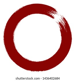 Red Brush Stroke Enso Symbol.  Logo,  Emblem Design Element.  Brush Circle. Enso Zen Symbol