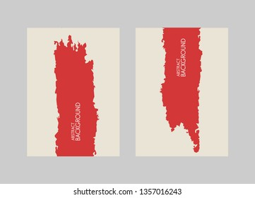 Red brush stroke on white background. Vector illustration. Grunge stain