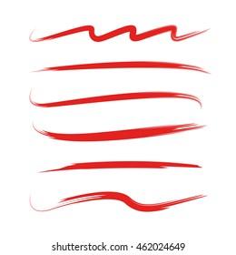 red brush stroke set