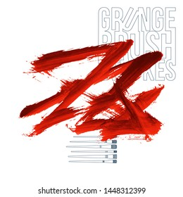 Red brush stroke and texture. Grunge vector abstract hand - painted element. Underline and border design.