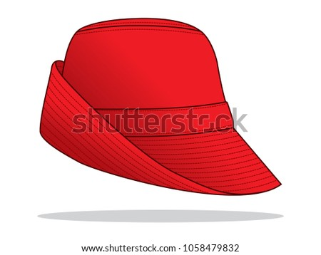 red bucket hat template stock vector royalty free 1058479832