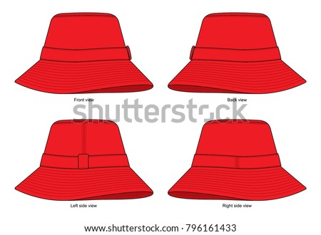 red bucket hat template front back side stock vector royalty free