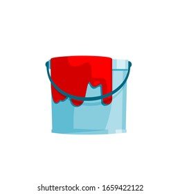 Red bucket on white pin vector.