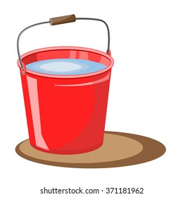 Red bucket of water. Vector illustration. Fire bucket. extinguish. A bucket of water for the garden. Design element for the garden.Bucket for harvest. Garden elements