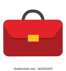 Red budget briefcase on vector illustration on white background.