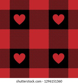 Red buffalo check gingham pattern for romantic shirt design. Pixel texture with red hearts. Seamless tile.
