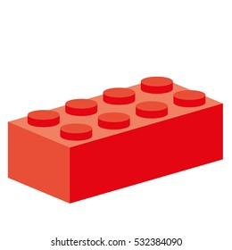 Red building block, symbol for creative construction