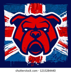 Red bulldog head mascot on grunge british flag background. Vector illustration.
