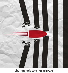 Red bullet shot smashed the walls on white background with creased paper texture. Poster or flyer design concept . Vector illustration