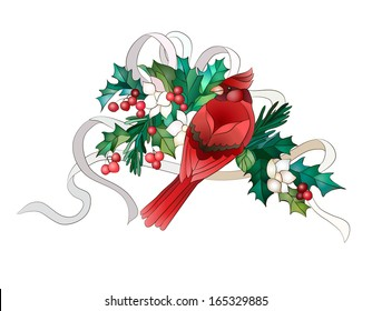 Red bullfinch Christmas in plants and ribbon
