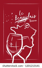 Red burgundy poster with wine glasses and map of France. Charcoal style and lettering.