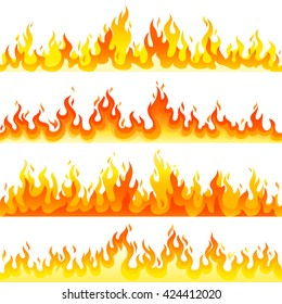 Red Burning Fire Flame Logo set design vector template. Burn concept icon pack. Hot Inferno illustration. Bonfire creative collection.