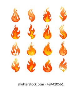 Red Burning Fire Flame Logo set design vector template. Burn Fireball concept icon pack. Hot Inferno illustration. Bonfire creative collection.