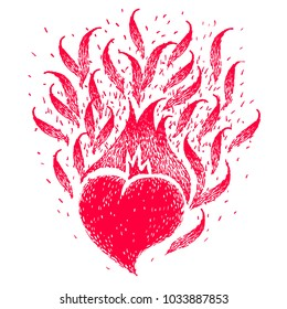 Red burning heart. Sketch for tattoo, poster, print or t-shirt. Vector illustration.
