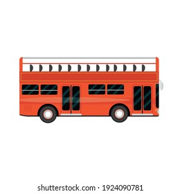 red bus double deck vehicle, city transport vector illustration