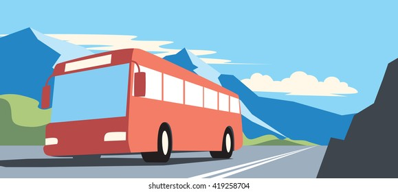 Red bus in road