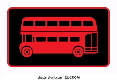 Red bus, vector illustration
