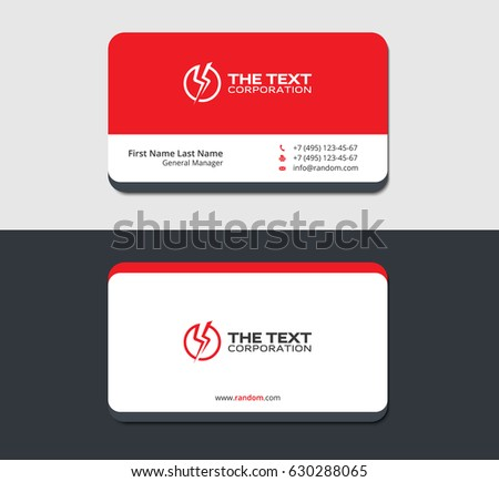 Red Business Card Template Voltage Icon Stock Vector Royalty Free
