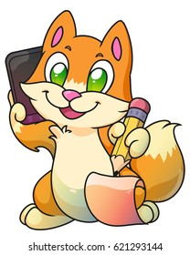 Red business cute kitten calling on a phone or tablet PC and writing with pencil, vector cat illustration, digital artwork.