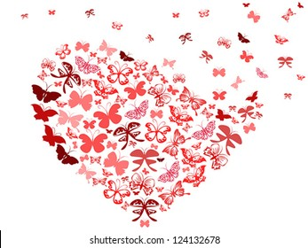 red butterfly flying heart