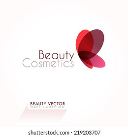 Red Butterfly vector illustration. Business sign template for Beauty Industry, Salon, Cosmetic labeling, Boutique. Vector graphics for concept of femininity, beauty, freedom. Sample text. Editable