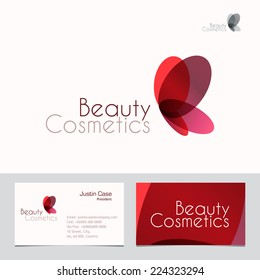 Red Butterfly vector sign & Business Card template. Vector icon for Beauty Industry, Beauty Salon, Cosmetic labeling, Beauty Boutique. Corporate identity template. Femininity, beauty, freedom concept.