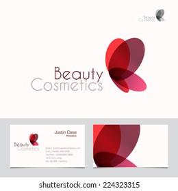 Red Butterfly vector sign & Business Card template. Vector icon for beauty industry, salon, spa, cosmetics package labeling, boutique. Corporate identity template. Femininity, beauty, freedom concept
