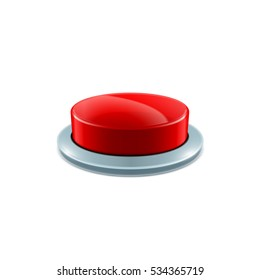 red button 3d vector realistic object isolated on white