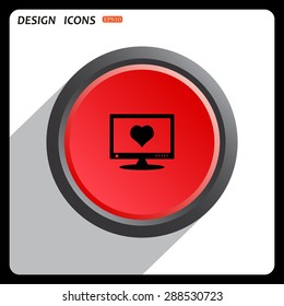 Red button start, stop. computer and heart, cyber-love symbol. icon. vector design
