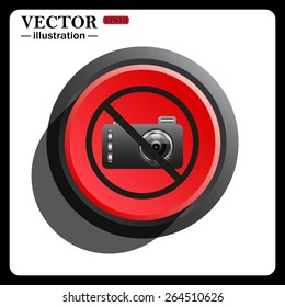 Red button start, stop. photo camera, icon, vector illustration. Flat design style