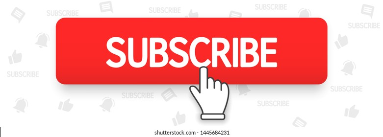 Red button subscribe and hand cursor. Subscribe to the channel. Blogging, streaming. Vector illustration. EPS 10