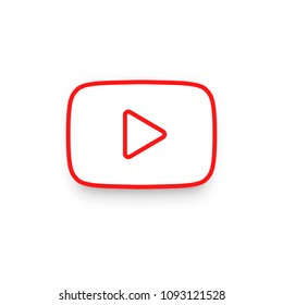 Red button video player in line style. YouTube symbol, icon, ui, web. Vector illustration. EPS 10