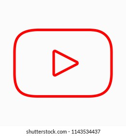 Red button video player. Vector illustration. EPS 10