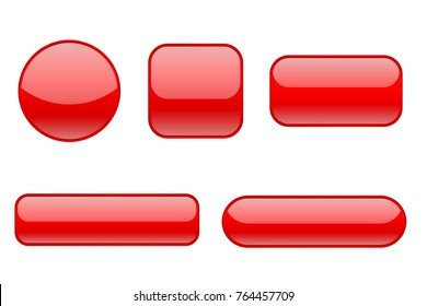 Red buttons. Collection of matted shaped signs. Vector illustration isolated on white background